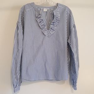 Gap Bohemian Blouse in Blue and White Stripes